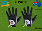 Men's Golf Gloves 2Pack Right Hand Left Black Grey Rain Grip All Weather On SALE