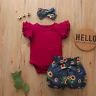 FixedPricenewborn baby girl floral outfit 3pcs set romper jumpsuit shorts headband clothes
