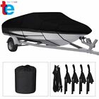 Waterproof Heavy Duty Trailerable Boat Cover Fishing V-Hull Tri-Hull Runabout image