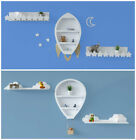 White Wooden Hanging Wall Shelves Rocket Balloon Clouds Novelty Nursery Storage