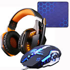Gaming Headset Headphones +Wired Gaming Mouse Mice 4000DPI Bass stereo Gamer