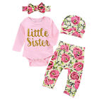 Infant Baby Girls 4Pcs Romper Flower Pants Sets Casual Summer Clothiing Outfits
