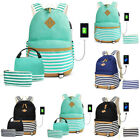 Women Men With USB Port Travel Backpack Adjustable Strap Canvas Zipper Striped