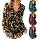 Womens Chiffon Floral Long Sleeve T Shirt Casual Loose V Neck Tunic Tops Tee New