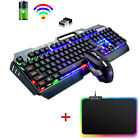 K670 Wireless Rainbow Backlit Gaming Keyboard and Mouse Set Mice Pad for PC PS4