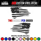 Tattered American Flag Distressed Vinyl Decal Sticker | Ripped Torn Usa Set Of 2