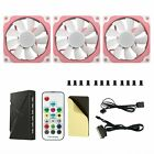 3 Pack Vetroo Pink Frame RGB LED 120mm Quiet Case Cooling Fan Computer PC Cooler