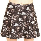 BLACK WHITE SKULL ROSES GOTH MINI MICRO SKATER SKIRT ALTERNATIVE 15in Long