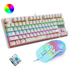 US Mechanical Gaming Keyboard and Mouse Sets Wired Blue Switch for PS4 PC Mac