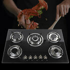 """5 Burners Built-In Stove Cooktops NG/LPG Gas Hobs Black Tempered Glass 23"""" 30"""""""