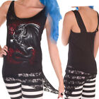 Spiral Direct DRAGON ROSE Lace Detail VEST Top T Shirt Black Gothic Alternative