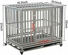 LUCKUP Heavy Duty Dog Crate Strong Metal Kennel and Crate for Large Dogs,Easy to