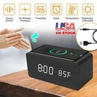 Digital LED Alarm Clock Qi-Wireless Charger Temperature Clock w/ Voice Control