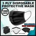 50/100 PCS Black Face Mask Mouth & Nose Protector Respirator Masks USA Seller