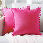 2x Soft Velvet Cushion Cover Pom Poms Home Decorative Sofa Car Throw Pillow Case
