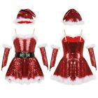 US Girls Christmas Party Santa Shiny Dress Set Dance Costumes Ice Skating Outfit