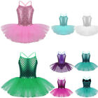 Girls Sequin Ballet Dance Dress Kid Tutu Skirt Leotard Glitter Dancewear Costume