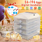 220V Digital 56/98/150/196 Eggs Incubator Hatcher Chicken Duck Automatic Turning
