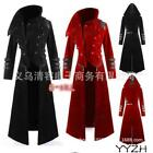 Mens Military Hooded Steampunk Trench Coat Long Jacket Gothic Overcoat Cosplay