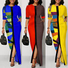 Womens Patchwork Split Long Maxi Dress Casual Party Cocktail Work Office Dresses