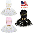 US Toddler Baby Girls Birthday Party Outfits T-shirt Tops Tutu Skirt Clothes Set