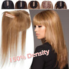 Clip In Real Remy Human Hair Topper Bangs For Women Hairpiece Cover Loss Hair US
