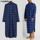 Men's Long Sleeve Check Printed Nightdress Casual Soft Nightshirt Pajama Robe US