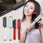 2 in1 Electric Quick Ceramic Hair Straightener Curling Styling Brush Comb Curler