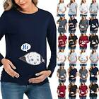Womens Maternity Cute Funny Baby Short / Long Sleeve T-Shirt Tee Pregnant Tops