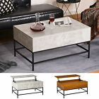 Wooden End Table Furniture for Living Room with Center Storage and Floating Top