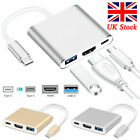 3.0 USB HUB 3 in1 Type C to USB-C 4K HDMI Powered Adapter Cable Splitter Macbook