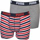 Puma Multipack Stripe & Solid Boys Boxer Briefs, Red/Grey