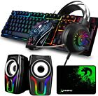Wired Gaming Keyboard Mouse And Pad Set & Backlit Headset & Rgb Speaker For Pc