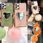 For iPhone 12 11 Pro Max XS XR 6 7 8 Bling Diamond Mirror Plush Ball Case Cover