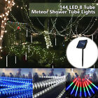 144 LED Meteor Shower 8 Tube Lights 30CM Rain Drop Icicle Holiday Party Decor US