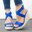 Womens Summer Ankle Strap Buckle Sandal Peep Toe Wedge Platform Heel Casual Sho
