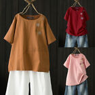 Women Cotton Summer Casual Loose T-Shirt Tee Floral Embroidered Blouse Tops Plus