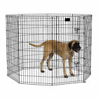 """MidWest Foldable Metal Exercise Pet Playpen with Door, Black, 24""""W x 24""""H"""