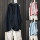 Women Cotton Casual Shirt Tops Buttons Up Round Neck Solid Frill Pullover Blouse