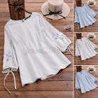 Women Floral Embroidery Shirt Tops Striped Long Sleeve Casual Summer Blouse Tee