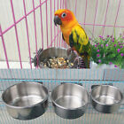 Useful Stainless Hanging Bowl Dish Bird Parrot Cage Food Water Feeder W/Clamp CF