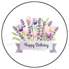 30 HAPPY BIRTHDAY LAVENDER ENVELOPE SEALS LABELS PARTY FAVORS STICKERS 1.5'