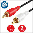 RCA Stereo Audio 100FT Cable 2 Male to 2 Male Dual Gold-Plated - 100 feet Lot