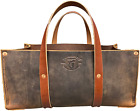 Buffalo Leather Tote Tool Bag for Hand Tools, Gardening, Outdoorsmen, Heavy Duty