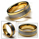 9MM MEN'S TUNGSTEN WEDDING RING BAND CARBIDE GOLD TONE