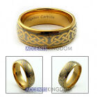 8MM MEN'S TUNGSTEN CARBIDE CELTIC KNOT RING GOLD TONE