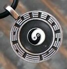 Chinese Yin Yang Pewter Pendant W Black Rubber Necklace