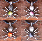 Spider insect W Stone Pewter Pendant w Black necklace
