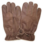 REAL LEATHER MENS GLOVES NAPPA CRUNCH DARK BROWN BNWT