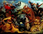 Rubens Tiger and lion hunt - Stretched Giclee Canvas